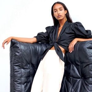 Zara Women's Top Stretch Poplin Top Black Tie Up